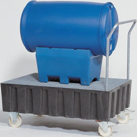 C. opvangbakken (opvangcapaciteit 200 l) V* 2 vaten (verrijdbaar)