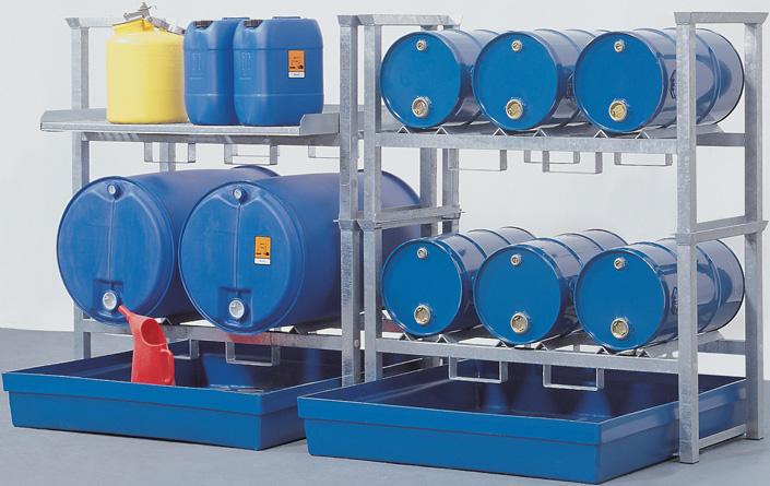 opvangcapaciteit 225 liter - volume 6 x 60 ltr., 2 x 200 ltr. en kleinemballage