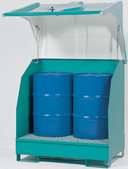 met kunststof kap - 1380 x 915 - volume 2 x 200 liter
