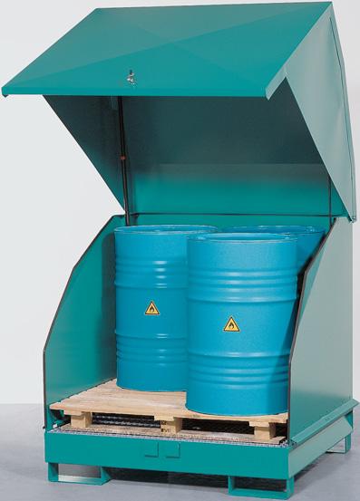 met stalen kap - 1380 x 1340 - volume 4 x 200 liter