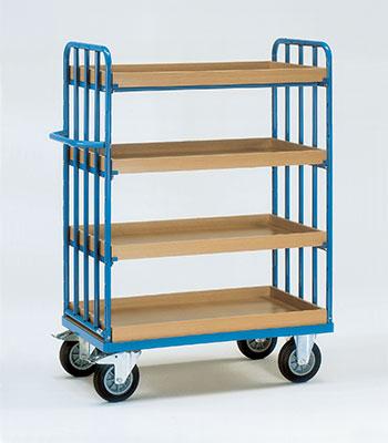 Etagewagens met legbord met rand met 4 etages