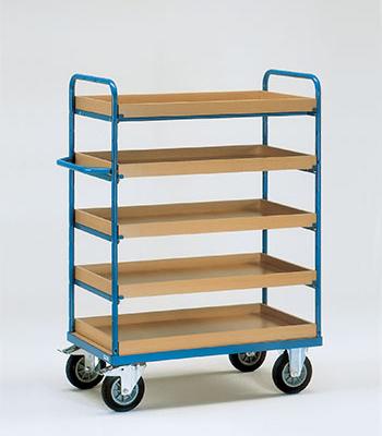 Etagewagens met legbord met rand met 5 etages