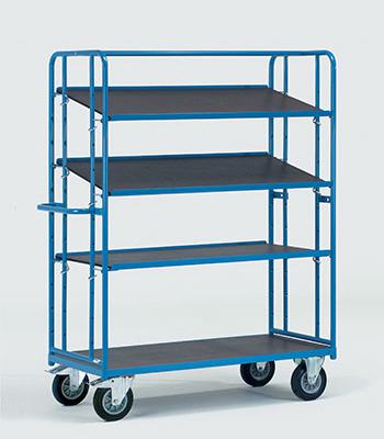 Etagewagens met vaste en losse legborden van watervast multiplex