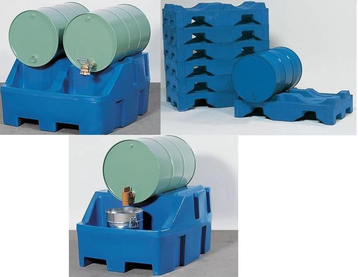 Aftap-/ opslagstations met polyethyleen opvangbakken