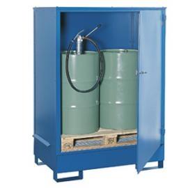 Opslag- en tapstation van staal voor 2 vaten van 200 liter