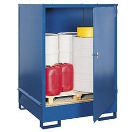 Opslag- en tapstation van staal voor 4 vaten van 200 liter