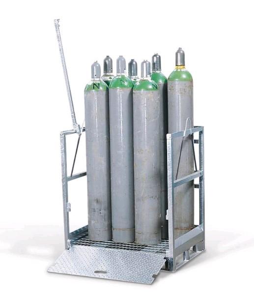 Transportpallet van gegalvanisdeerd staal voor opslag van gasflessen